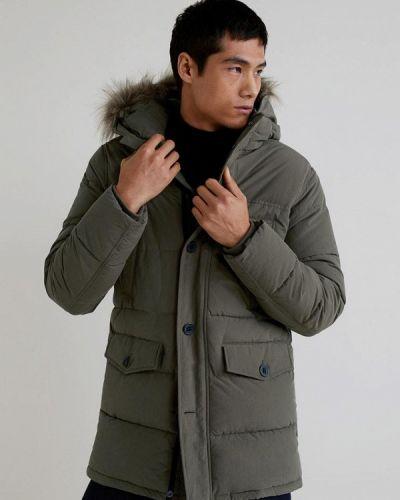 Утепленная куртка демисезонная серая Mango Man
