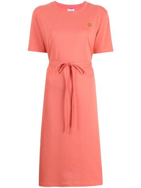 Хлопковое платье миди - розовое Kenzo