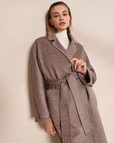 Прямое коричневое шерстяное пальто 12storeez