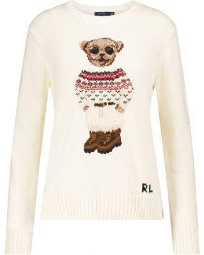 Домашний белый шерстяной свитер с медведем Polo Ralph Lauren