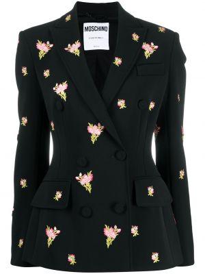 Черный пиджак двубортный с карманами Moschino