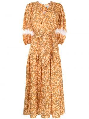 Pomarańczowa sukienka długa koronkowa z printem Sachin & Babi