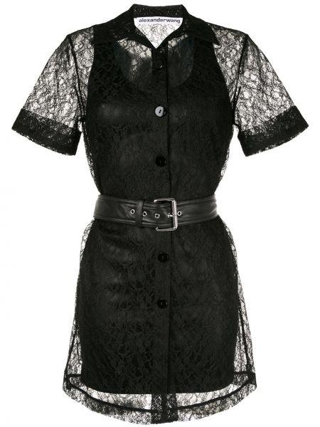 Ażurowy czarny klasyczny sukienka mini z kołnierzem Alexander Wang