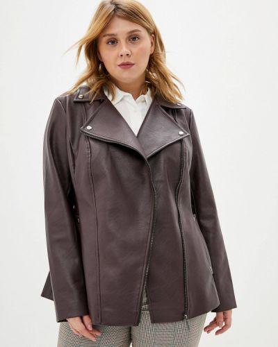 Кожаная куртка осенняя бордовый авантюра Plus Size Fashion