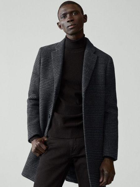 Прямое серое шерстяное пальто классическое Mango Man