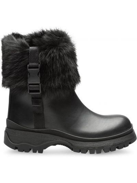 Czarny buty z prawdziwej skóry prążkowany okrągły nos Prada