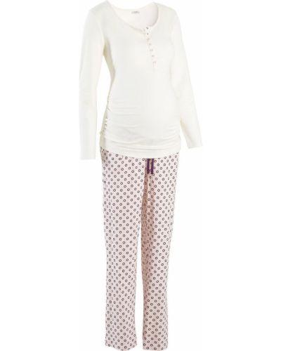 Пижамная пижама с брюками на пуговицах свободного кроя Bonprix