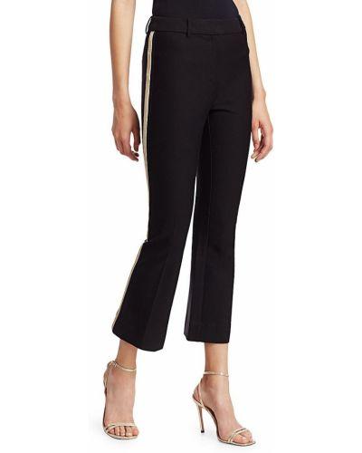 Хлопковые черные укороченные брюки в полоску Derek Lam