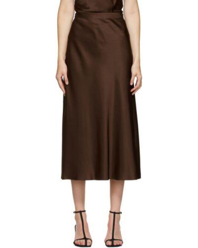 Сатиновая коричневая юбка Rosetta Getty