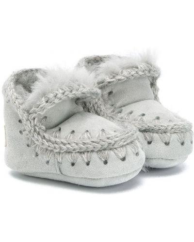 Серые зимние ботинки из овчины с подкладкой без застежки Mou Kids