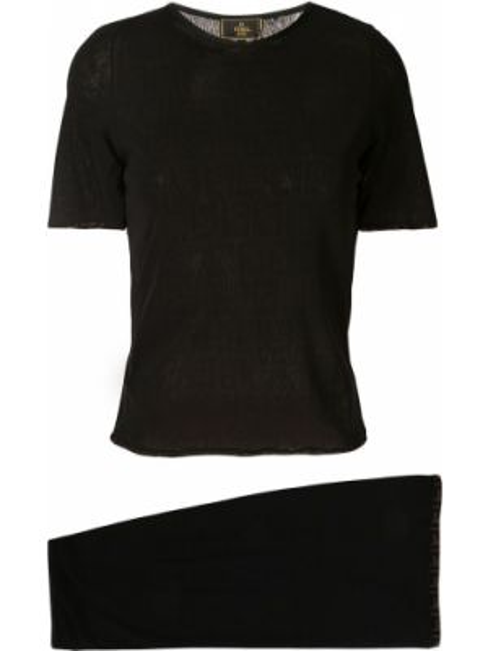 Нейлоновая юбка мини с поясом узкого кроя с вырезом Fendi Pre-owned