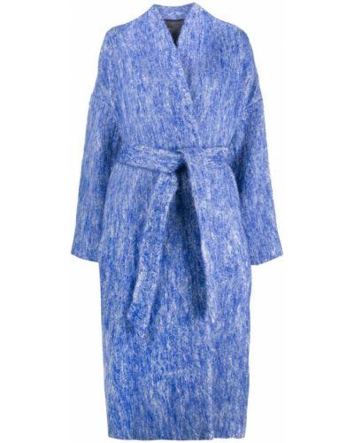 Синее пальто с поясом из мохера с вырезом Christian Wijnants