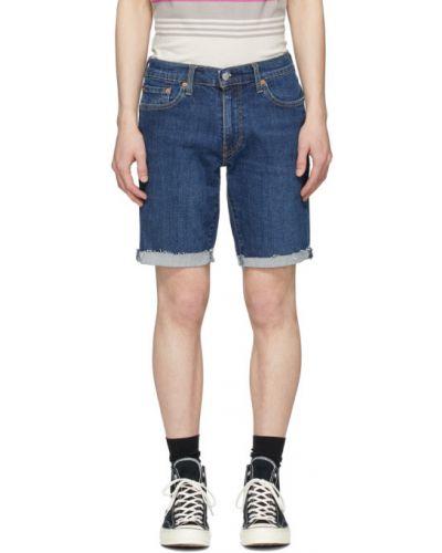 Skórzany niebieski dżinsowe szorty rozciągać z łatami Levi's