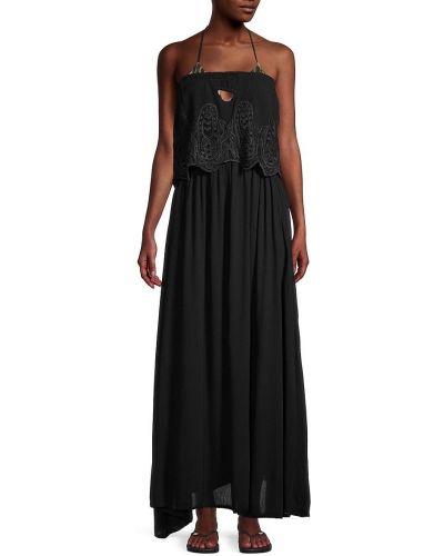 Прямое черное платье макси с декольте Tiare Hawaii