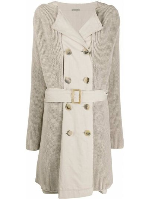 С рукавами вязаное бежевое длинное пальто с лацканами Bottega Veneta Pre-owned