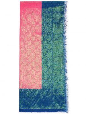 Zielony szalik wełniany z printem Gucci
