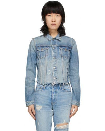 Серебряная джинсовая куртка с опушкой с манжетами с воротником Grlfrnd
