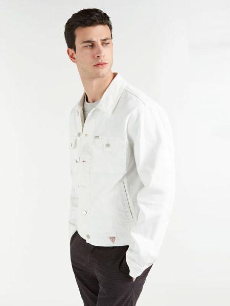 Klasyczna niebieska kurtka jeansowa bawełniana Guess