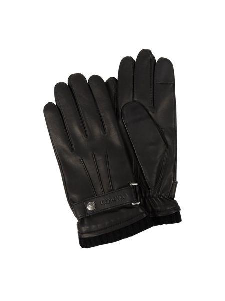 Czarne rękawiczki skorzane Ck Calvin Klein