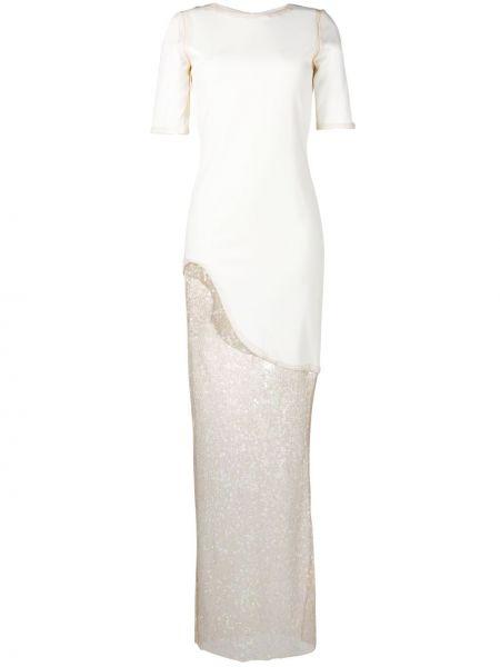 Шелковое асимметричное платье с пайетками Haney