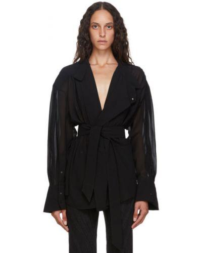 Шифоновая черная блузка с поясом с воротником Mugler