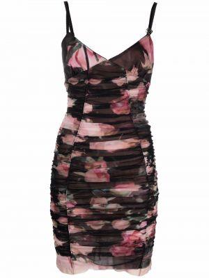 Платье мини в цветочный принт - черное Blumarine