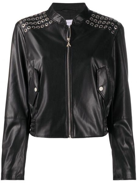 Skórzany z rękawami czarny długa kurtka z kieszeniami Patrizia Pepe