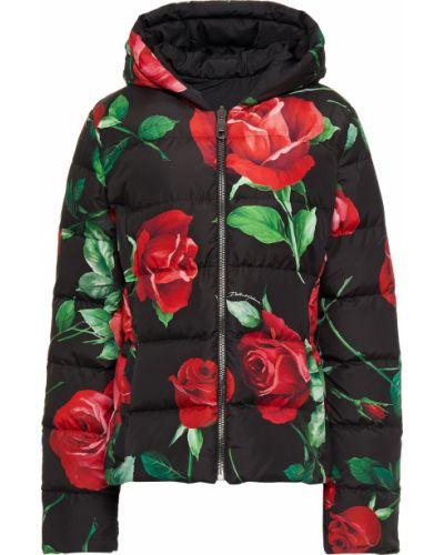 Czarna kurtka pikowana z printem Dolce And Gabbana
