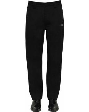Czarne spodnie bawełniane z paskiem Calvin Klein Established 1978