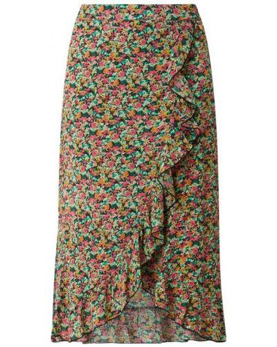 Różowa spódnica midi rozkloszowana z falbanami Freebird