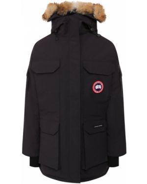 Куртка с капюшоном с перьями синий Canada Goose