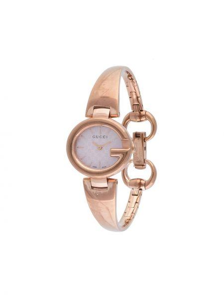 Золотистые кварцевые часы золотые круглые Gucci Pre-owned