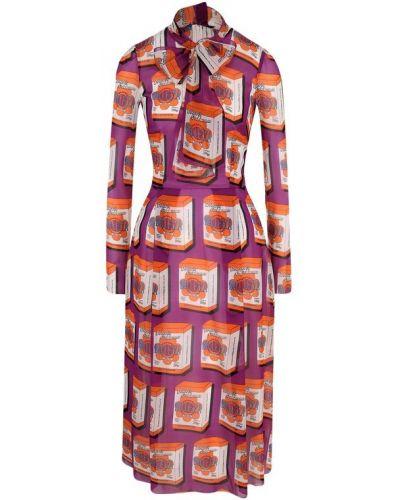 Платье миди с надписью шелковое Dolce & Gabbana