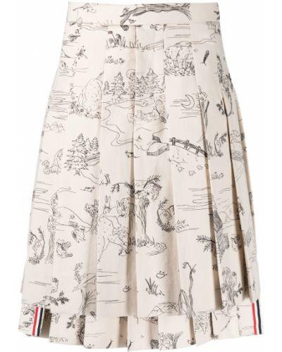 Белая хлопковая плиссированная юбка с принтом Thom Browne