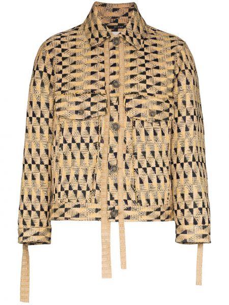Długa kurtka z frędzlami z nylonu zapinane na guziki Song For The Mute