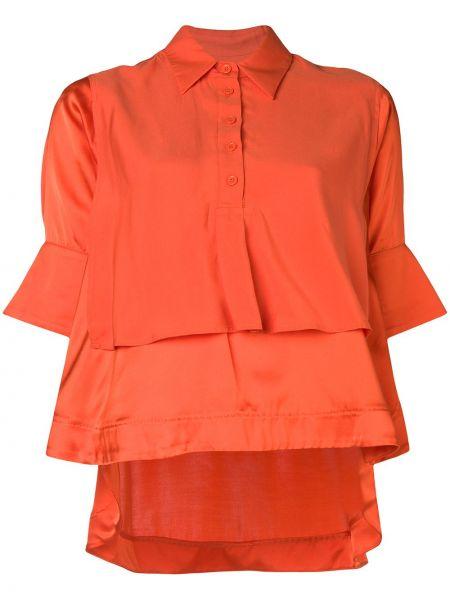 Pomarańczowa bluzka asymetryczna z wiskozy Carven