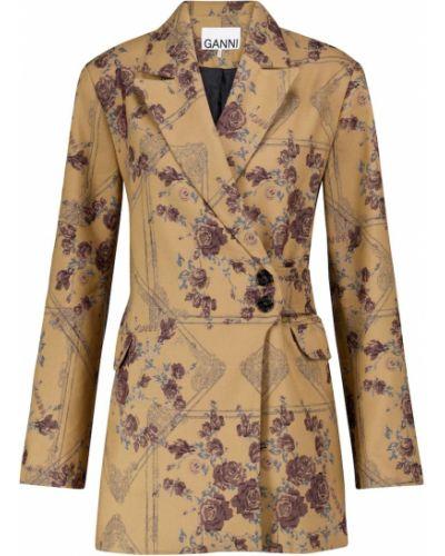 Золотистый желтый пиджак из парчи Ganni