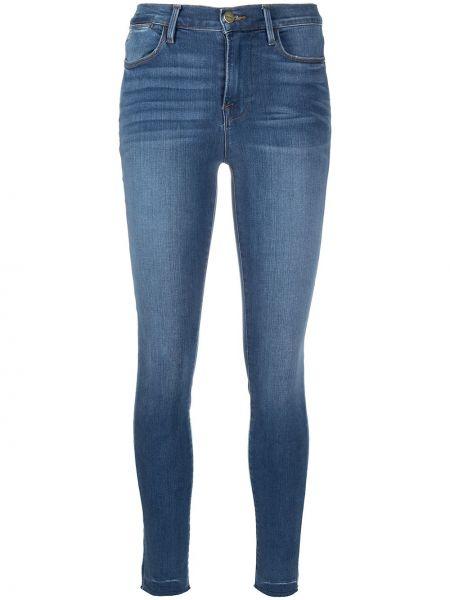 Хлопковые синие джинсы-скинни с высокой посадкой Frame