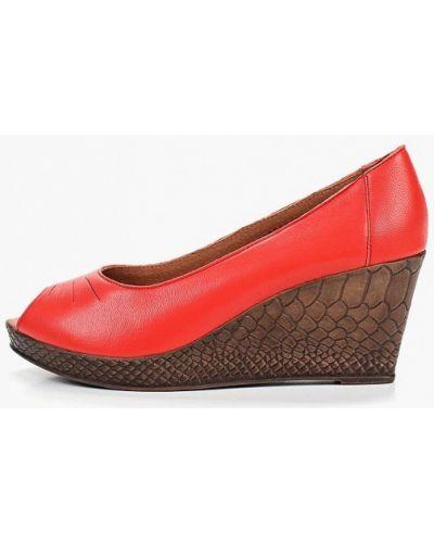 Туфли на каблуке кожаные с открытым носком Shoiberg