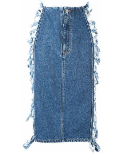Синяя юбка миди с бахромой в рубчик Pony Stone