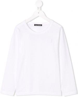 Biały t-shirt z długimi rękawami bawełniany Acne Studios Kids