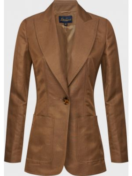 Коричневый пиджак на пуговицах из вискозы Luisa Spagnoli