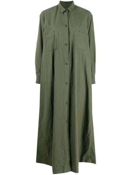 Свободное платье макси с длинными рукавами с воротником с карманами Daniela Gregis
