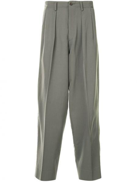 Плиссированные серые деловые брюки на молнии Yohji Yamamoto Pre-owned
