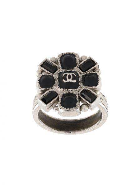 Czarny pierścień metal Chanel Pre-owned
