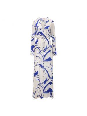 Синее платье с длинными рукавами с поясом Galvan  London