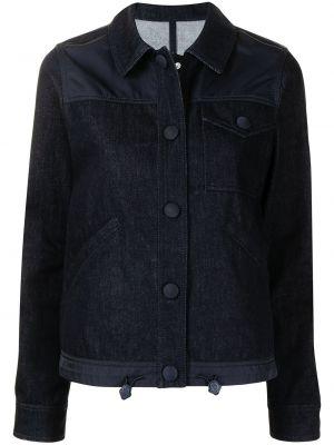 Синяя джинсовая куртка с воротником с карманами Moncler