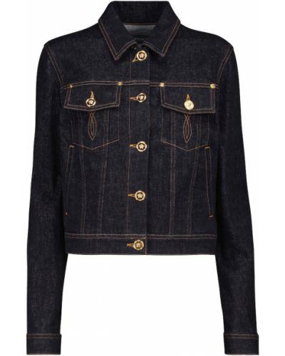 Ватная черная джинсовая куртка из натуральной кожи Versace