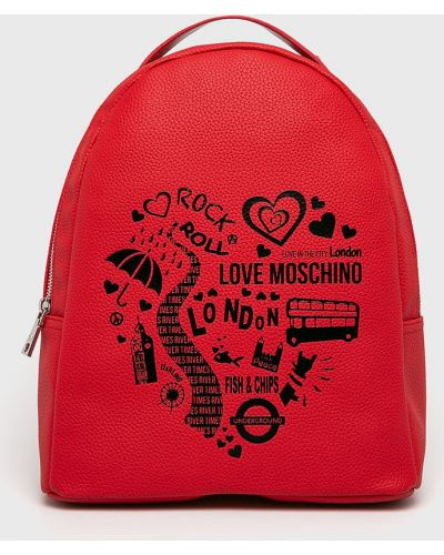 Кожаный рюкзак красный Love Moschino