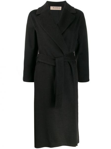 Черное длинное пальто с капюшоном Blanca